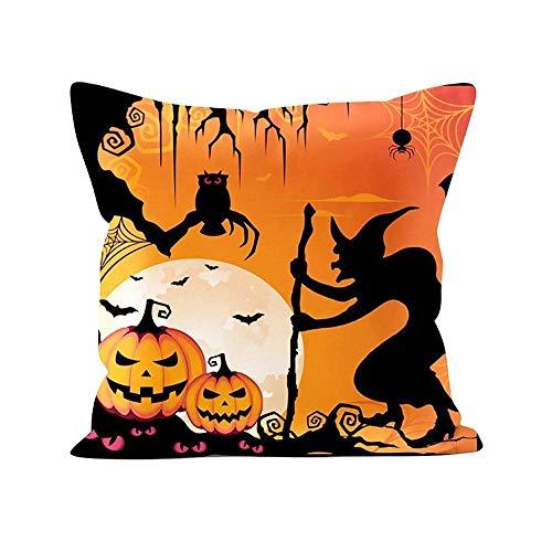 AntonioKe75 - Funda de almohada de Halloween con diseño de calabaza, murciélago y gatito, funda de almohada para decoración de cintura, fundas de cojín para sofá cama de 22 x 22 pulgadas, decoración del hogar