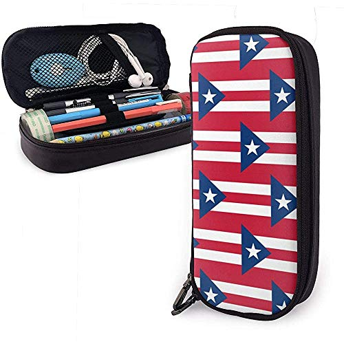 Puerto Rico Vlag Patroon Potlood Case School Pen Tassen Potlood Stationaire Pouch Case Make-up Tas PU Leer