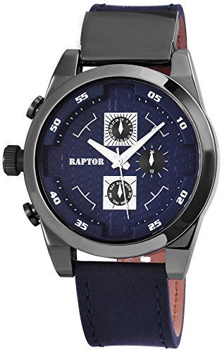 Raptor Herren - Uhr Oberseite Echt Leder Armbanduhr Analog Quarzwerk RA20108