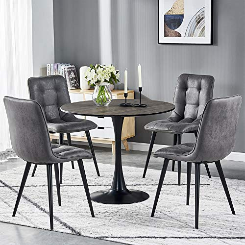TONVISION Retro Ray Dining Chairs Distressed Suede Fabric Seatrest Back Support Black Tapered Leg Kitchen Table Side Chair Corner Living Room Lounge Furniture Set of 4, Grey