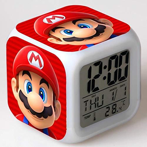 TYWFIOAV Super Mario Bros, Reloj Despertador para niños, Reloj Digital de Dibujos Animados, luz de Despertador, Reloj led, Mesa desesperada, Mesa de Reveil, wekker