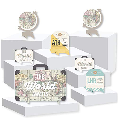 Big Dot of Happiness World Awaits - Travel Themed Party Centerpiece Table Decorations - Tabletop Standups - 7 Pieces