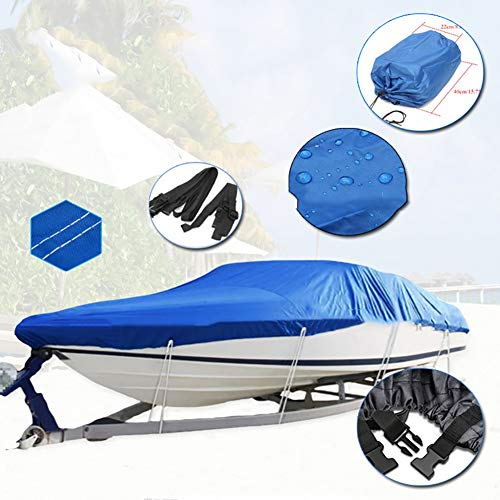 YMYP08 Waterdichte 210D Oxford Boat Cover, Boating Yacht Waterproof Cover, Kayak Sun Protection UV, V-Type, 11-22FT, Blauw