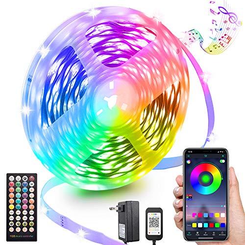 LED Strip Lights 65.6FT, Smart Light Strips with App Control Remote, Music Sync Color Changing Lights, 5050 RGB Led Lights for Bedroom, Room Kitchen (1 roll 65.6ft Led Strip)