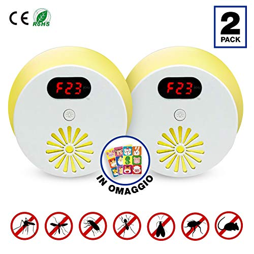 DARKDUCK® Repellente ultrasuoni per topi – Antizanzare e Repellente insetti (mosche, formiche, scarafaggi) con luce notturna - Ambiente protetto - 100% sicuro –[Pacco 2] Adesivi Antizanzare in omaggio