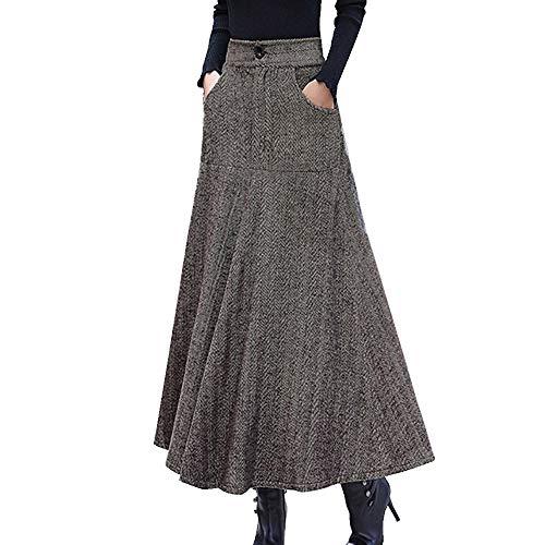 GCC Falda De Rayas Vintage para Mujer Otoño e Invierno Peludo Cintura Alta A-Palabra Larga Falda con Suéter Brown-S