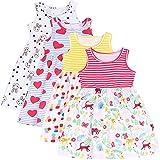 L&K-II Paquete de 4 Bebé Niños Niñas Vestido Sin Mangas Vestido de Verano Vestido sin Mangas Modelo Delgado Algodón Dulce patrón 1-8 años 5206 5207 5212 5214 98-104
