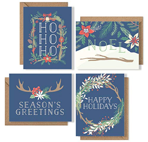 Navy Floral Holiday Card Boxed Set - Christmas Cards with Kraft Envelopes - 4 Unique Designs - Blank All-Occasion Holiday Greeting Cards Bulk Box - Proudly Made in the USA By Palmer Street Press (12)