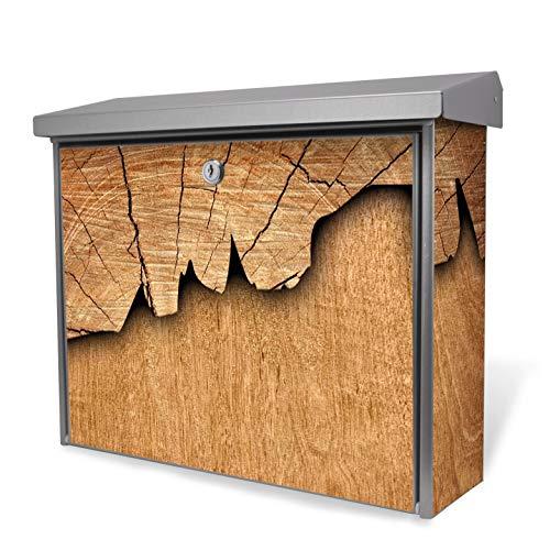 Burg-Wächter Edelstahl Briefkasten   Modell Inoxstar 4700 Ni 38,5 x 31,5 x 12cm   witterungsbeständig, mit Zylinderschloss, 2 Schlüssel, Montagematerial   Motiv Holz ohne Standfuß