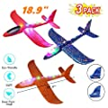 BAIVYLE 3 Pack Airplane Toys Large Throwing Foam Plane, LED Light Up Flight Mode Glider Plane, Flying Toy for Kids, Gifts for 3 4 5 6 7 Year Old Boy, Outdoor Sport Toys Birthday by BOYI