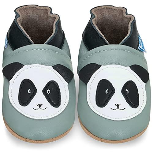 Scarpette Neonata - Scarpe Bambina Primi Passi in Morbida Pelle - Panda - 18-24 Mesi