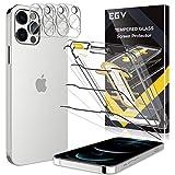 EGV [3+3 Pack Protector de Pantalla iPhone 12 Pro (6.1') + Lente de cámara, [Protección Integral] Cristal Vidrio Templado para iPhone 12 Pro (6.1')