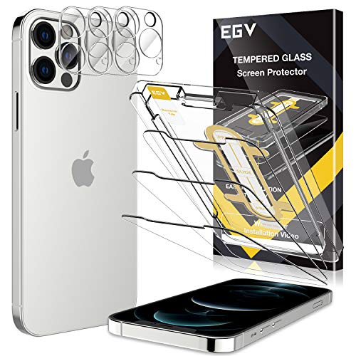 6 Pack EGV 3pcs Screen Protector & 3pcs Camera Lens Protector Compatible with iPhone 12 Pro Max 5G 6.7-inch, 9H Hardness Tempered Glass, Easy Installation Tray, Case Friendly, HD Ultra-Thin