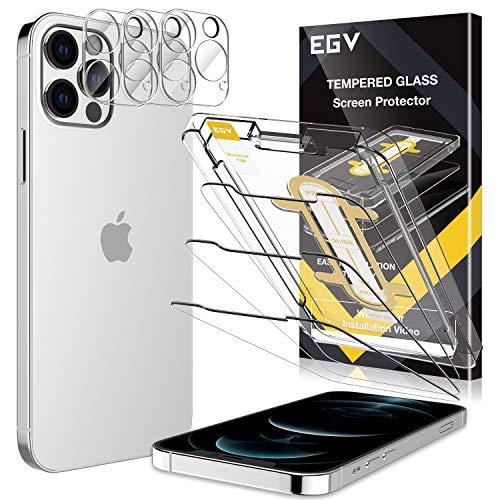 EGV Compatibile Con IPhone 12 Pro Max Protector De Pantalla,3 Pack Cristal Templado E 3 Pack Protector De Lente De Cámara Transparente