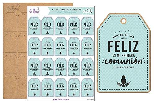 LA LLUNA ALWAYS CREATING Kit de 20 Etiquetas MI Primera COMUNIÓN con Tag de Madera para Comunión Color Azul