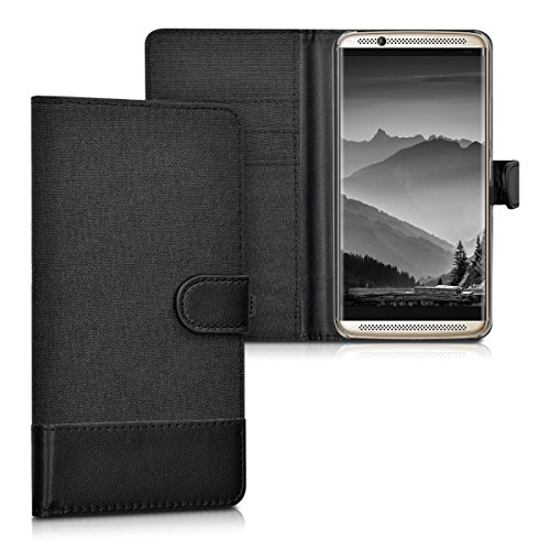 kwmobile Wallet Case Compatible with ZTE Axon 7 - Fabric and PU Leather Cover with Card Slots and Stand - Anthracite/Black