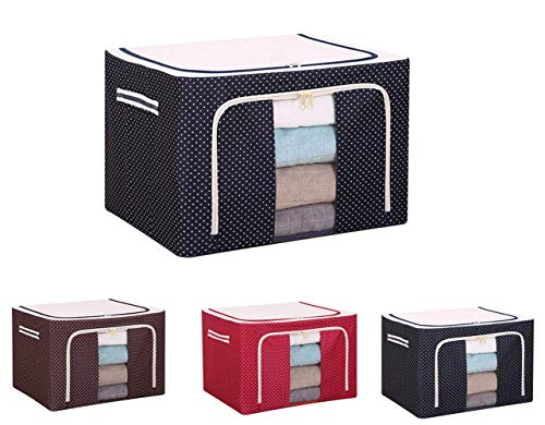 TTCPUYSA Oxford Cloth Steel Frame Storage Box,Multifunctional Transparent Storage Organizers, for Clothes Bed Sheets Blankets Home (Navy Blue)