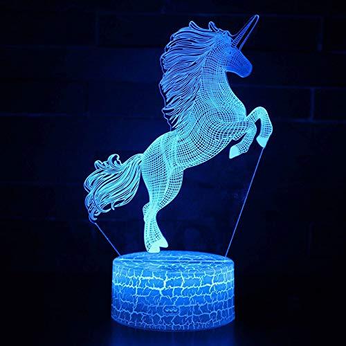 3D Animal Unicorn Nachtlampje voor kinderen, 7 Kleuren Veranderen met afstandsbediening, Dimbare Kids Room Decor Lamp Vakantie en Verjaardagscadeaus voor Kinderen