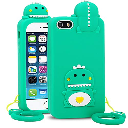 BEFOSSON Dinosaur Case for iPhone 5C / 5S / 5 / SE for Girls Boys Kids Teens (4.0 inches), iPhone 5 / 5S / 5C / SE Green Funny Kawaii Cute 3D Cartoon Dinosaur Soft Silicone Phone Cover Case