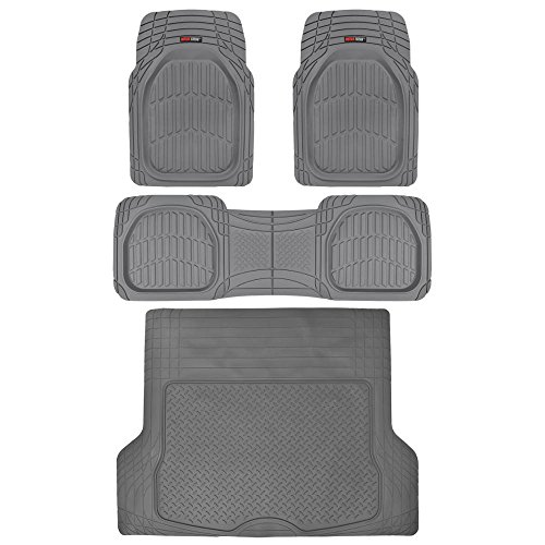 4pc Gray Car Floor Mats Set Rubber Tortoise Liners w/Large Cargo Trunk Liner for Auto SUV Trucks