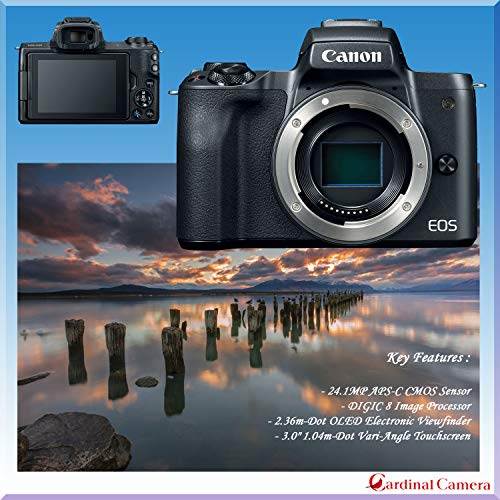 Canon EOS M50 Mirrorless Digital Camera - Black w/15-45mm Lens + Pro Accessory Bundle (Including Digital Flash, Sturdy Equipment Carrying Case, 2X 64GB Transcend Memory Cards and More.)