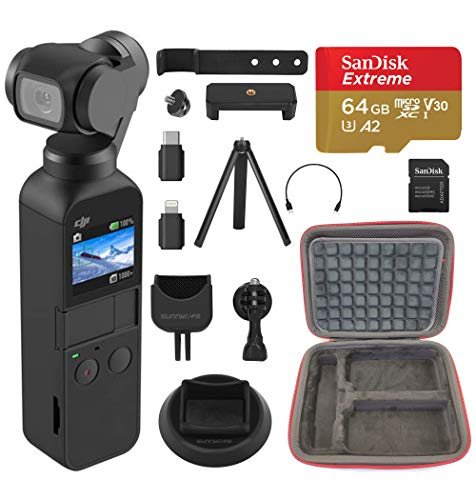 DJI Osmo Pocket - 4K/60FPS Handheld 3-Axis Action Camera with 64 GB Extreme microSD Card Ultimate Bundle