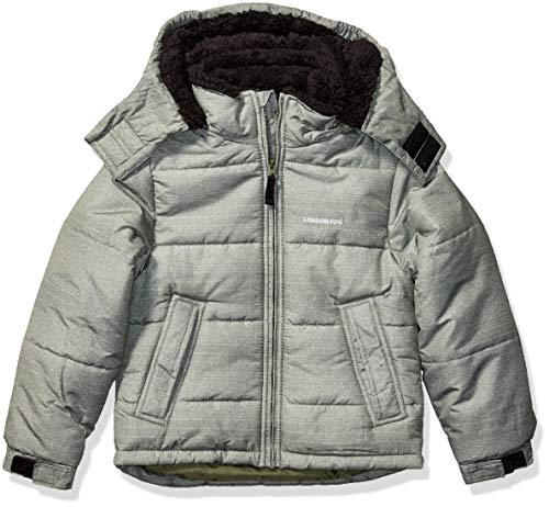 LONDON FOG Boys' Big Active Puffer Jacket Winter Coat, Green Solid core, 10/12