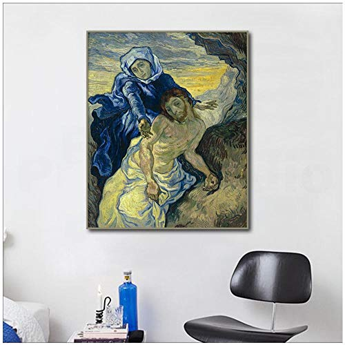 Impressionistische Canvas schilderij Heilige Maagd Maria en Jezus door Wall Art Print Poster muur foto voor woonkamer Decor ; 50x70cm geen frame