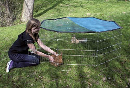 Kerbl Freigehege aus 8 Gittern, verzinkt, mit Netz und Tür, Ø 143 cm - 3
