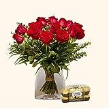 Pack Ramo de 15 rosas + Caja Ferrero Rocher - Ramo de flores naturales y Ferrero Rocher-Regalo San Valentín-Regalo Día de la Madre - Envío a domicilio 24h GRATIS - Tarjeta dedicatoria de regalo