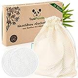 Abschminkpads waschbar hergestellt in Europa | 12 x Waschbare Abschminkpads aus 100% Bambus | Wiederverwendbare Wattepads mit Baumwolle Wäschenetz | TrustPanda® |