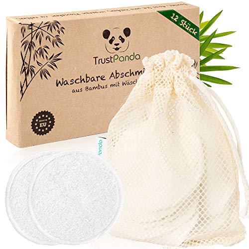 Abschminkpads waschbar aus 100% Bambus | 12 x Wiederverwendbare Wattepads hergestellt in Europa | Wattepads Wiederverwendbar mit 100% Baumwolle Wäschebeutel | Waschbare Abschminkpads | TrustPanda® |