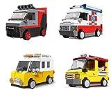 4 bloques de construcción de coche con accionamiento por fricción, equipo A, camión de alimentos, ambulancia, furgoneta, juguete de construcción 407 bloques de construcción