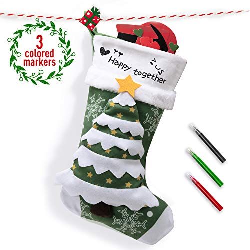 Joyjoz Calcetín navideño marcadores de 3 Colores, Medias navideñas Grandes Personalizadas 3D Hechas a Mano 53cm...