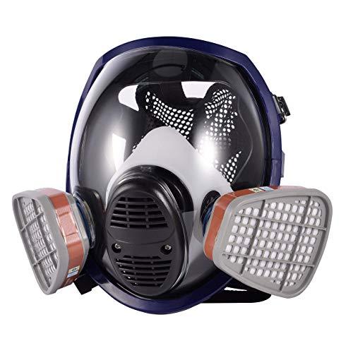 HOLULO Maschera pieno Facciale, Maschera di sicurezza per la protezione del viso con respiratore di vapore organico per vernice, polvere Certificazione CE (Respiratore)