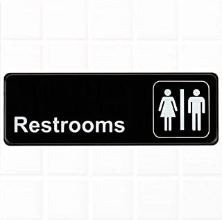 Restrooms Sign - Black and White, 9 x 3-inches Restrooms Sign for Door/Wall, Restroom Signs/Bathrooms Signs by Tezzorio