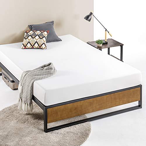 ZINUS GOOD DESIGN Award Winner Suzanne 14 Inch Metal and Wood Platforma Bed Frame / No Box Spring Needed / Wood Slat Suport Brown Queen