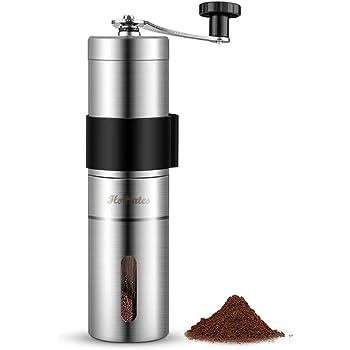 Homates 手挽きコーヒーミル セラミック臼 ステンレス製 手動コーヒー豆挽き器 アウトドア 粗さ調節機能 手動 水洗い可能 お掃除ブラシ付き