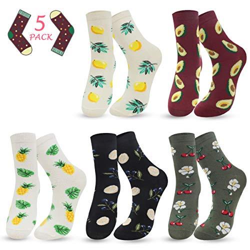 ECOMBOS Socken Damen Bunt - Lustige Socken Baumwoll Damensocken Lässige Socken Frauen, Gemusterte Dressed Geschenk für Mädchen (Avocado)