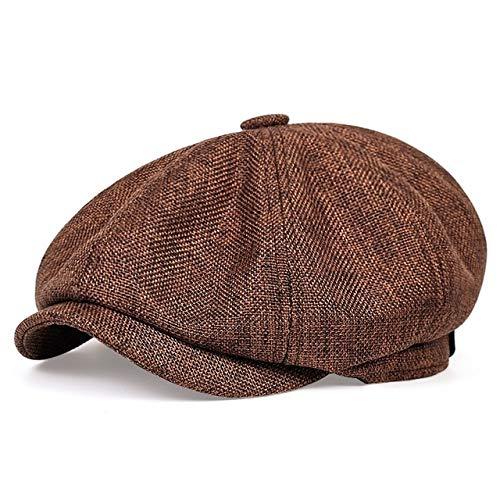 Sombrero de Vendedor de periódicos Informal de los nuevos Hombres Sombrero de Boina Retro de Primavera y otoño Sombreros Casuales Salvajes Unisex Gorra Octagonal Salvaje-Brown-54-59CM