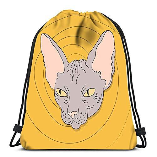 Bigtige Mochila con cordón Bolsa Mochila Deportiva de Gran Capacidad Mochila Escolar 14.5 `` x 16.5 '' Pulgadas Cat Lies in The Room
