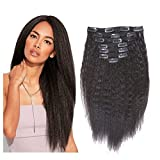 Kinky Straight Clip Ins Extension 8A Grade Natural Hair Clip In Extensions #1B Black Color Afro Clip in Hair Extensions For Black Women Thick Yaki Clip In Hair Extensions Human Hair Full head 18 Inch