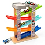 Coogam Wooden Race Track Car Ramp Toy for Toddler, Color Vehicle Construction...