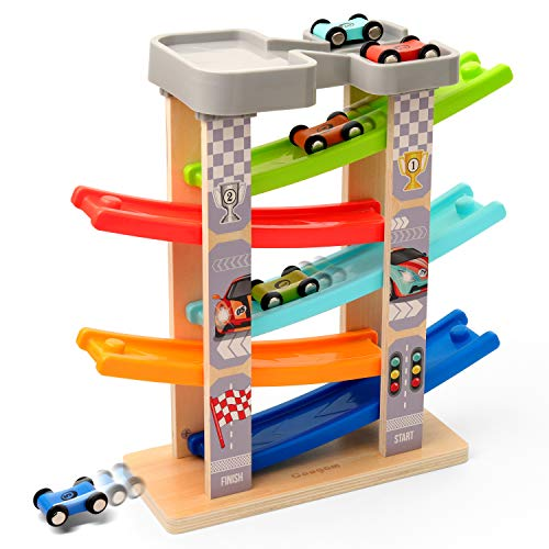 Coogam Wooden Race Track Car Ramp Toy for Toddler, Color Vehicle...