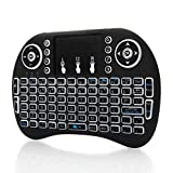 WAJJ Mini i8 Backlit 3 Color 2.4GHz Wireless Touchpad Keyboard with Touchpad for Game,PC,Laptop,Desktop,Pad Rechargeable Li-ion Battery-Black