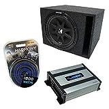 Universal Car Stereo Vented Port Single 10' Kicker Bundle Comp C10 Sub Box Enclosure & Harmony HA-A400.1 Amp