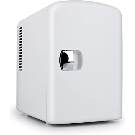Living Enrichment Mini Fridge Chilling and Warming, Portable Compact Refrigerator AC/DC Power, 4L 6 Cans Capacity, for Skincare, Foods, Medications, Milk, Home and Travel White