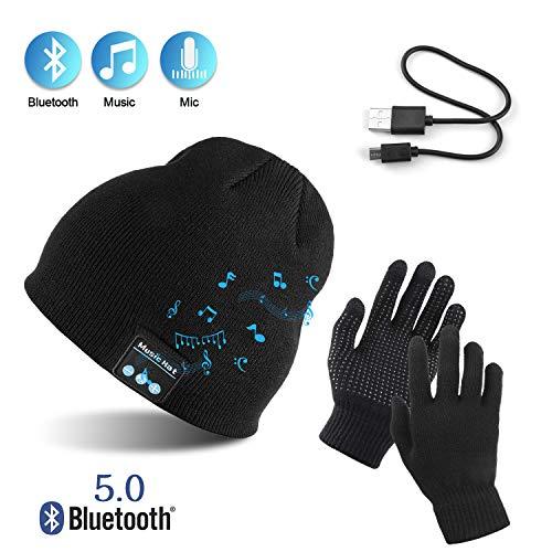 TAGVO AYPOW Bluetooth Beanie mit Touchscreen Handschuhen Set, Winter Warm Gestrickte Drahtlose Bluetooth Headset Musik Hut für Laufen...