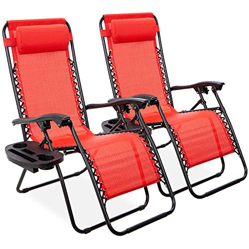 Best Choice Products Set of 2 Adjustable Steel Mesh Zero Gravity Lounge Chair Recliners w/Pillows and Cup Holder Trays, Crimson Red