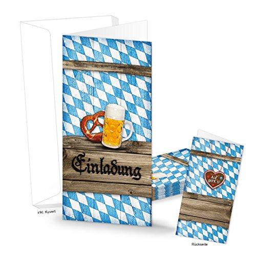 Logbuch-Verlag 10 bayerische Einladungskarten mit Kuvert EINLADUNG BAYERN Oktoberfest blau weiß kariert DIN lang